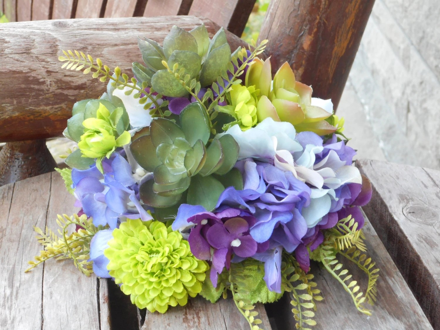 Wedding Cake Topper / Silk Flowers And Succulents / Rustic
