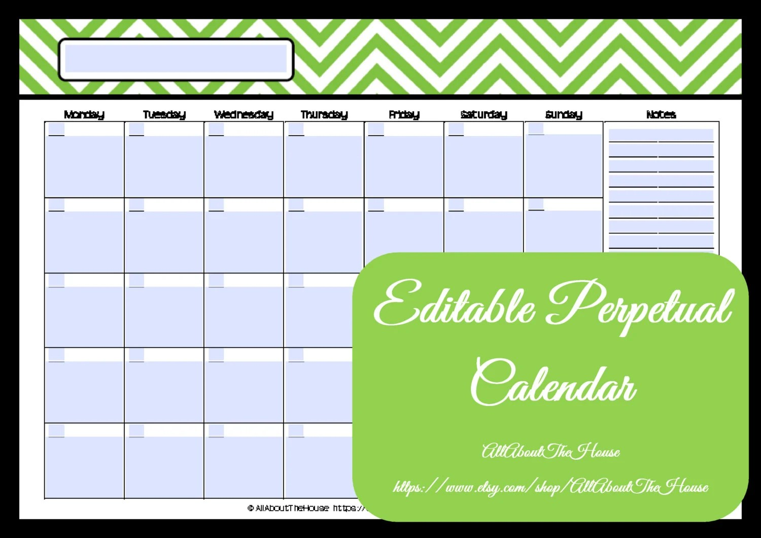 Editable Printable Calendar Perpetual Monthly 1 Page