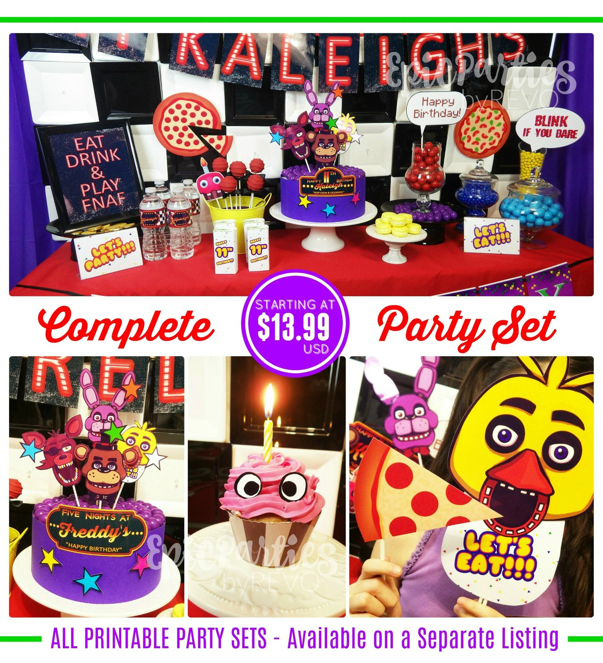 Fnaf Birthday Decorations Five Nights At Freddy S Party Etsy