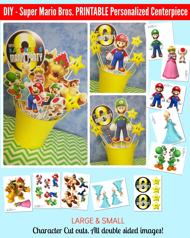 Super Mario Bros Printable Centerpiece Mario Birthday Etsy