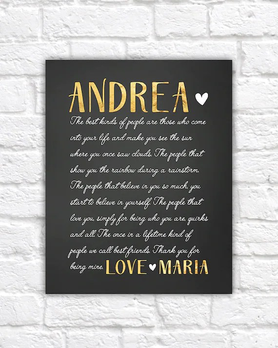 Special Gift For Best Friend Letter To Best Friend Sentimental Gifts Birthday Gift For Friend Gold And Black Cursive Letter