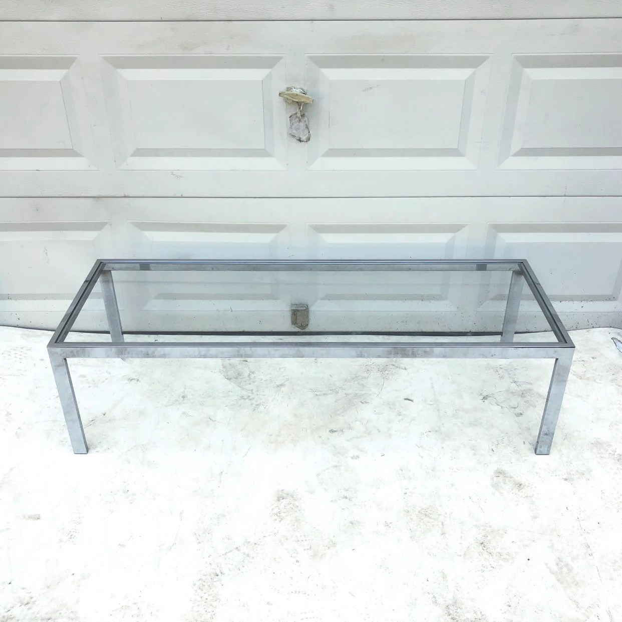 Stylish Mid Century Chrome And Glass Coffee Table
