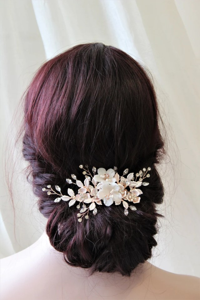 gold wedding hair comb, wedding hairpiece, bridal hair comb , bridal hair accessories, floral headpiece, leaf hair vine , uk