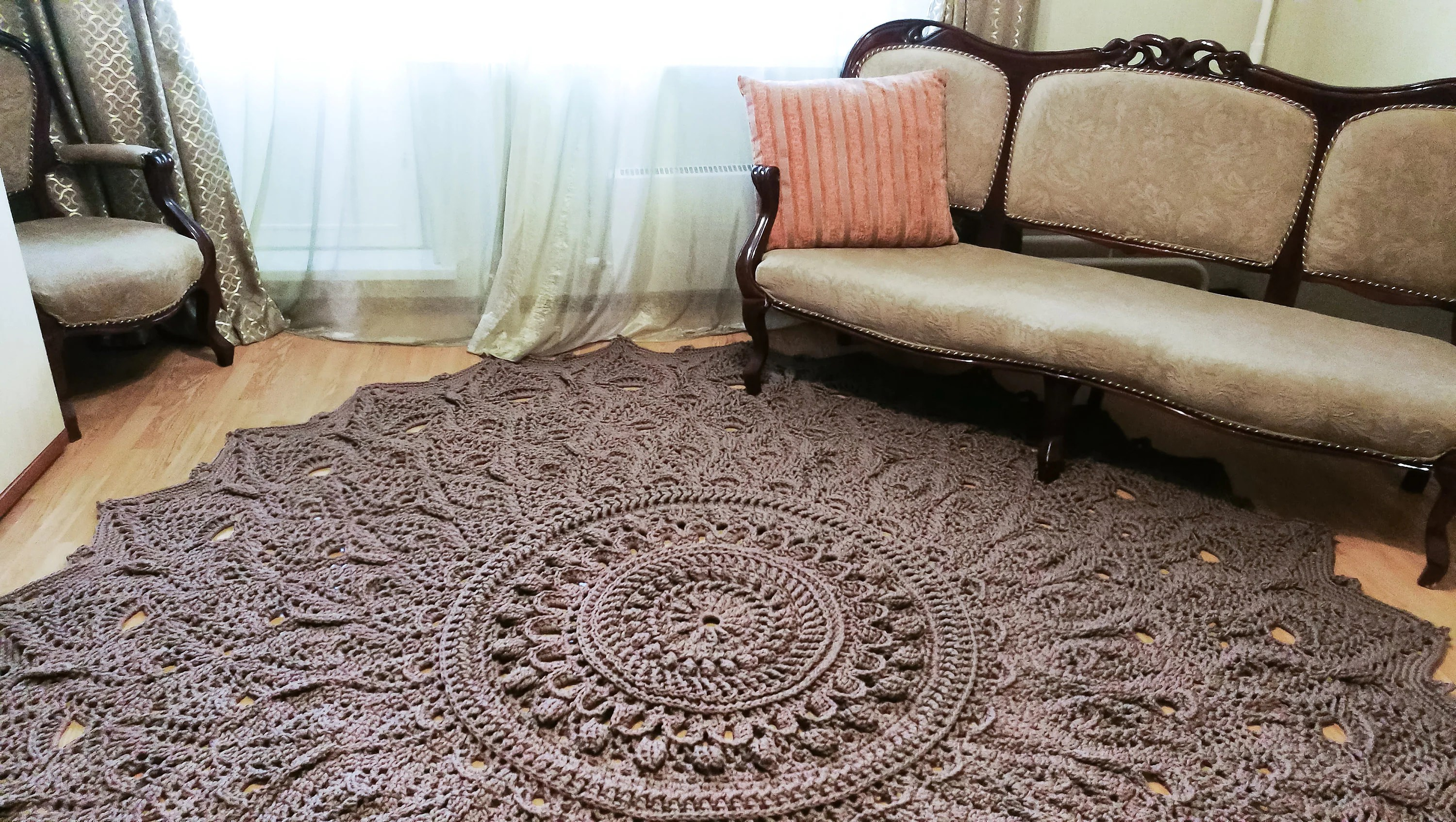 Big Crochet Rug Round Area Rug 118 In Doily Rug Yarn Lace Mat Cottage Nursery Carpet Rustic Floor Decor By Lacemats Laceastermax