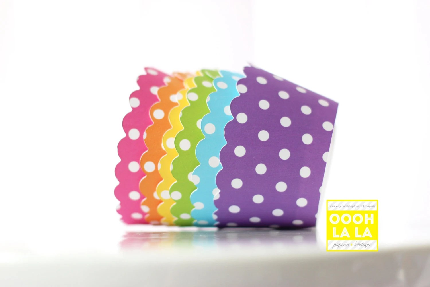 MADE TO ORDER Polka Dot Cupcake Wrappers In Bright And