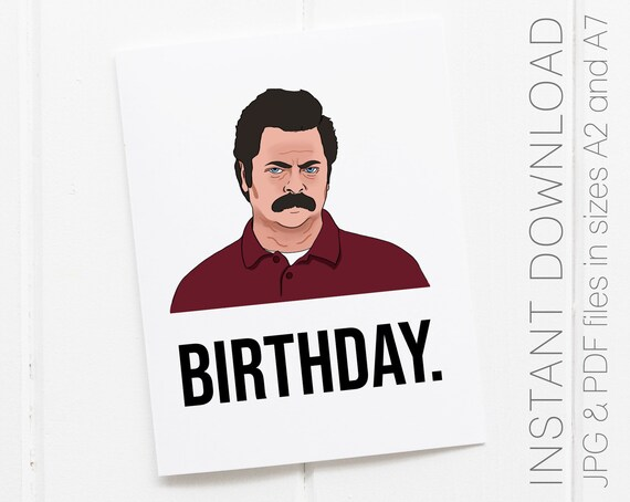 Printable Ron Swanson Birthday Card Parks And Recreation Etsy