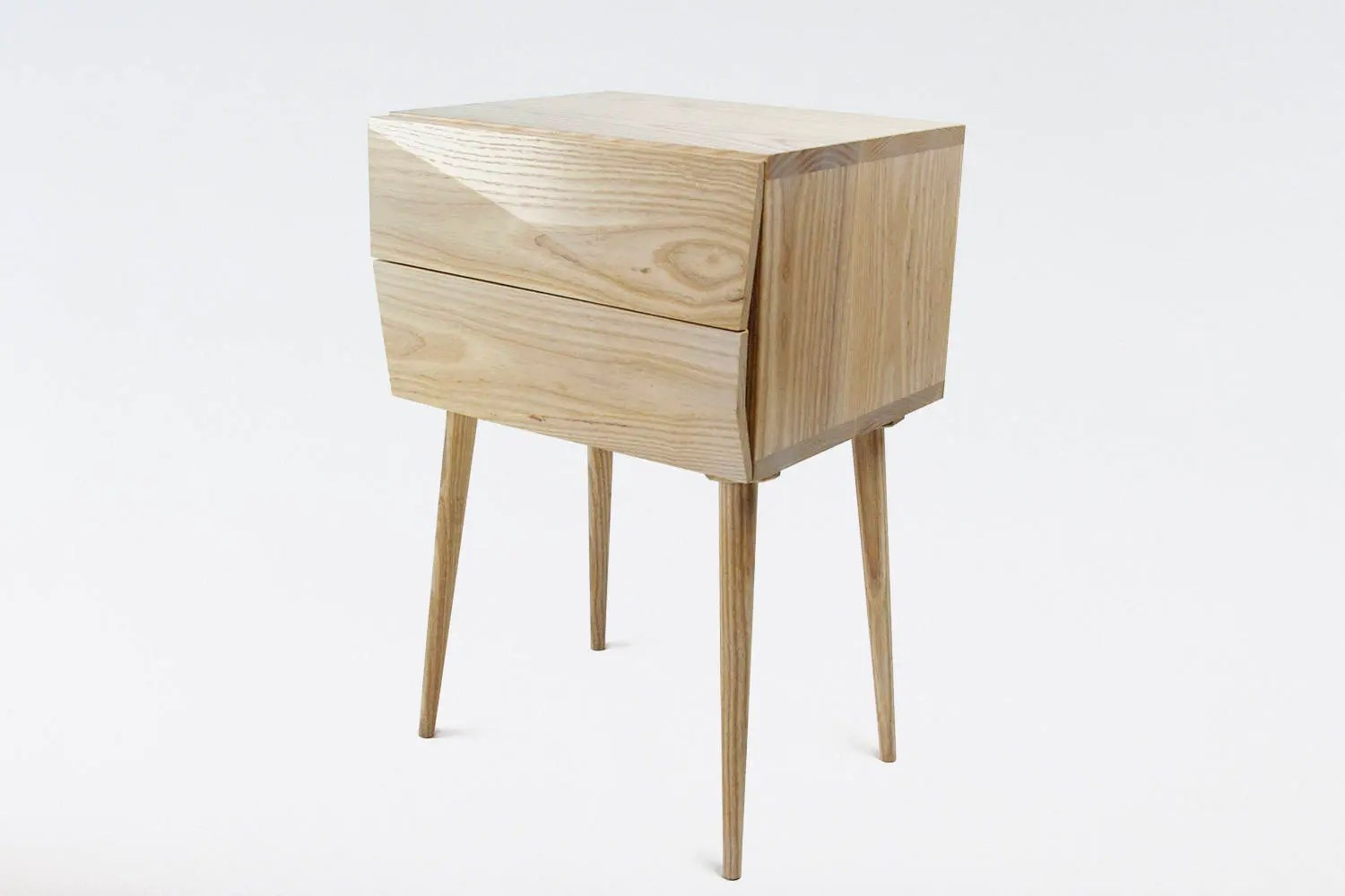 Contemporary Wood Nightstand With Drawers