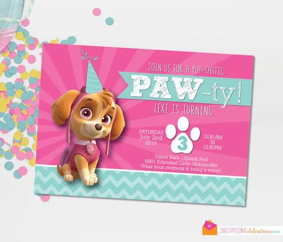 Paw Patrol Skye Invitation Paw Patrol Birthday Paw Patrol Etsy