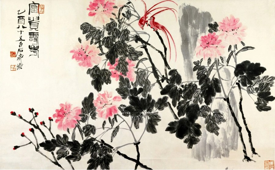 Chinese art Birds and Flowers chinese watercolor painting Qi   Etsy image 0