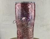 Rose Gold Milky Way Glitter Swirl Tumbler- coffee mug water bottle Personalized Monogram Custom Made Gift for Her Gift Multi Color Glitters