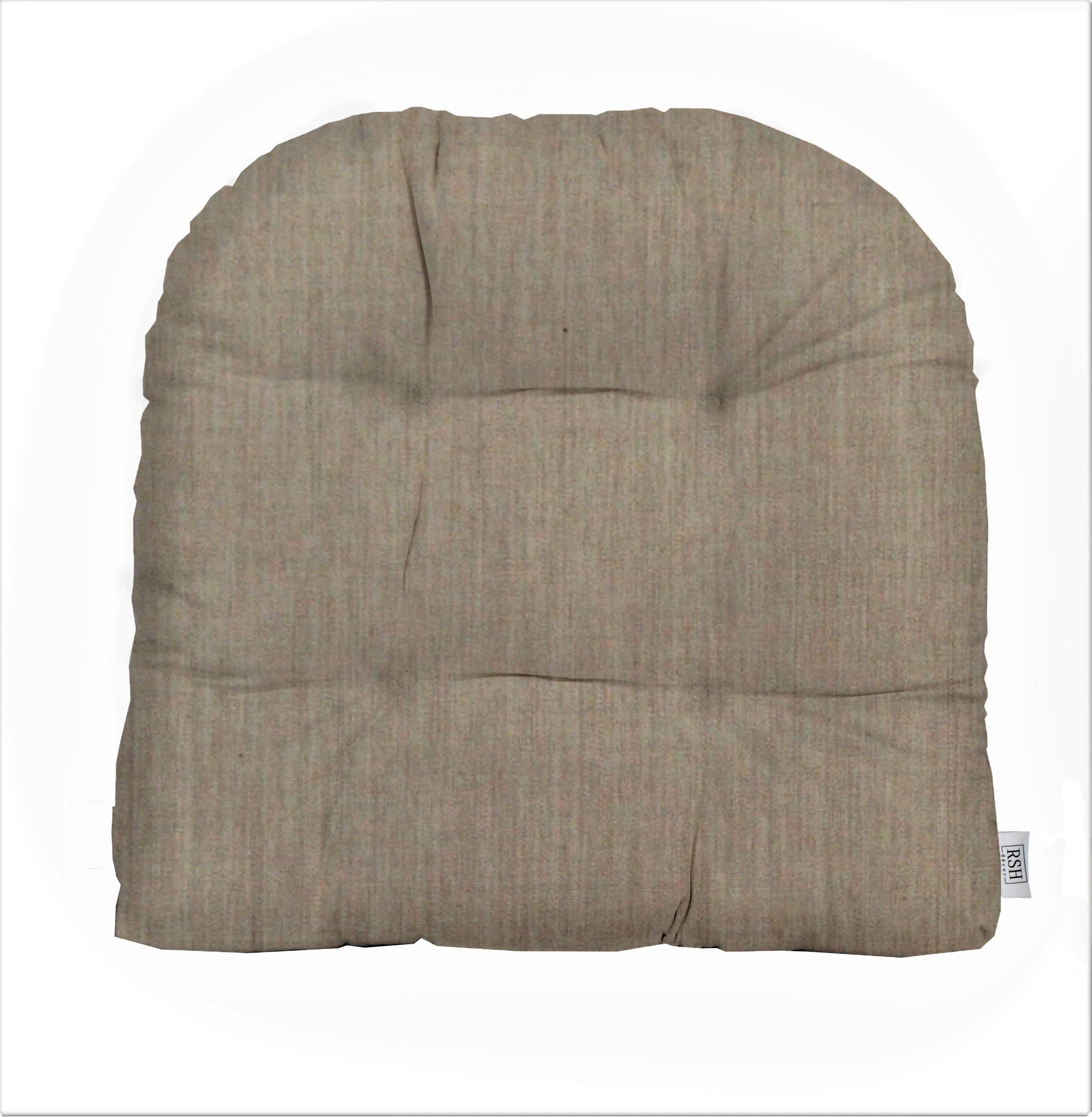 Sunbrella Canvas Flax Wicker Chair Cushion Indoor Outdoor Tufted Wicker Chair Seat Cushion Choose Size