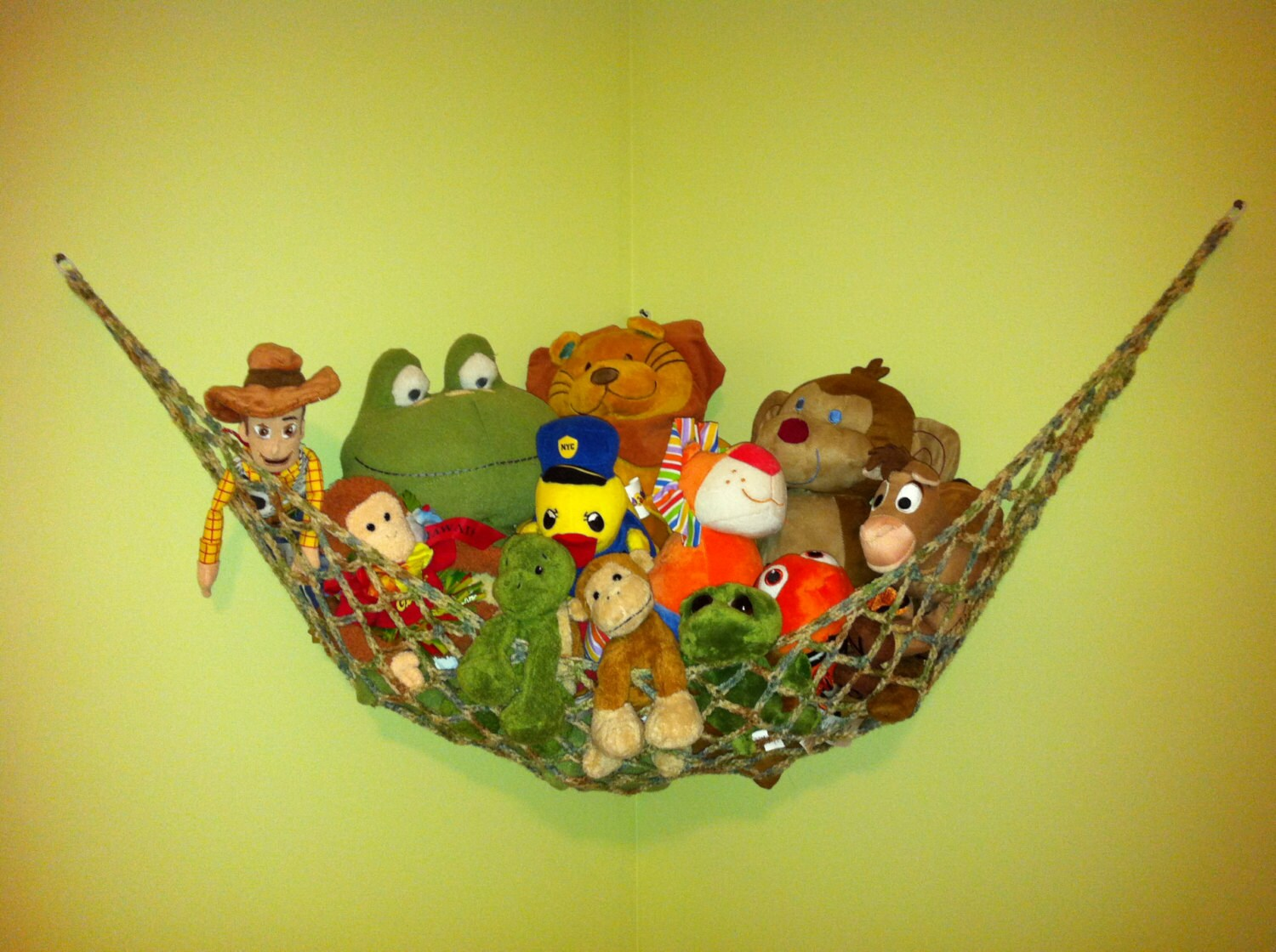 Stuffed Animal Hammock Net Solid Colors With Contrasting