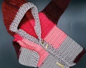 Crochet Patchwork Hoodie in 'Strawberry Swish' - Size 9 - 12 Months