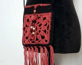 Boho Crossbody Beaded Tassel Bag in 'Red Clay' and 'Midnight'