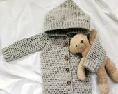 Baby Hooded Button-Up Romper Size 12 Months in Gray