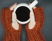 Thick Wool Blend Hand Warmers in 'Pumpkin Spice'