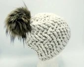 Plush Speckled White Beanie with Faux Fur Pom