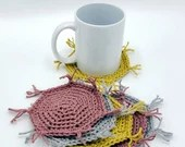 Set of 6 Cotton/Linen Mug Rugs in gray, mustard, mauve