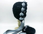 Heirloom 'Ohana Bonnet in Black with satin blue ribbon