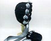 Heirloom 'Ohana Bonnet in Black with satin blue ribbon