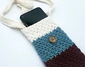 Cell Phone Carrier in ivory, teal, mulberry