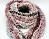 Long Classic Style Boho Scarf with fringe in pinks and grays