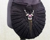 Handmade Black Shell Crossbody Bag w/ purple brass beaded embellishment