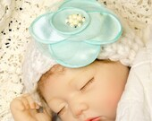 Baby Girl Beanie in 'white' w/Silk Flower