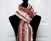 Long Classic Style Boho Scarf in pink beige ivory burgundy