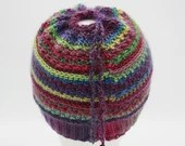 Drawstring Messy Bun/Ponytail Hat in 'Stained Glass'