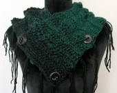 Fringed Cowl Scarf in Green and Black