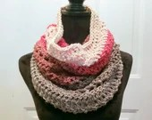 Unfringed Cowl in 'Red Velvet' color way with red, bright pink, gray, beige