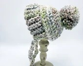 Wool Baby Bonnet in 'Fern' green and purple size 0-3 months and 3-6 months