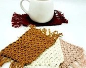 Set of 4 Cotton Mug Rugs in ivory, mulberry, mustard, and pink