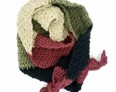 Color Block Unisex Knotted Scarf with black, burgundy, sage, beige