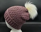 Purple Marled Purple Textured Beanie w/Faux Fur Pom Pom