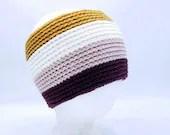 Classic Merino Blend Ear warmer in Burgundy, pink, gold, white