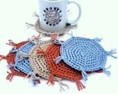Set of 6 Cotton/Linen Mug Rugs in blue, coral, beige