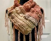 Fringed Cowl Scarf in 'Russet' - Coral, Cream & Brown