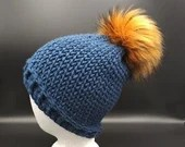 Winter Beanie in 'Huckleberry' blue  w/faux fur pom pom
