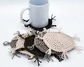 Set of 6 Cotton/Linen Mug Rugs in brown and beige