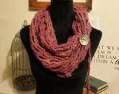 Fashion Crochet Scarf in Pink w/Tie & Button