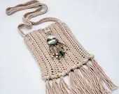 Antique Cream Boho Crossbody Bag with Beaded Shell Embellishment and Fringe
