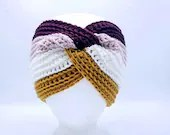 Twisted Merino Blend Ear warmer in Burgundy, pink, gold, white