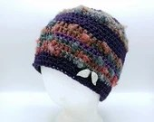 Beanie with Silver Leaf accents in Purple and Gray