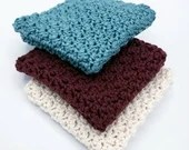 3-Pack Hand Crocheted Wash Cloths in Teal, Mulberry, and Ivory