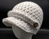 White Newsboy Cap with decorative buttons