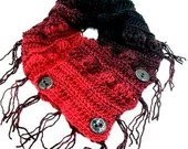 Fringed Cowl Scarf in Red & Black