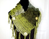 Fringed Cowl Scarf in 'Forest Moss'