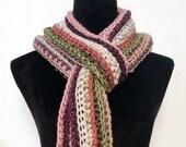 Long Classic Style Boho Scarf in pink purple green beige
